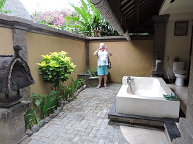 Outdoor bathroom in downstairs lumbung
