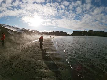 Steaming beach on Deception Island